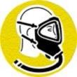 symbole de sécurité: casque à ventilation assistée
